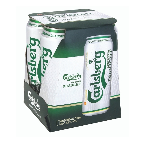 CARLSBERG SMOOTH DRAUGHT BEER 500ML X4