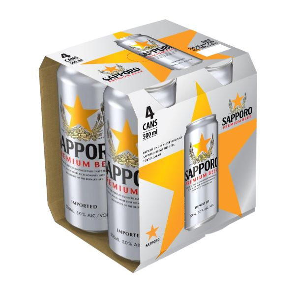 SAPPORO PREMIUM BEER (KING CAN) 500MLX4