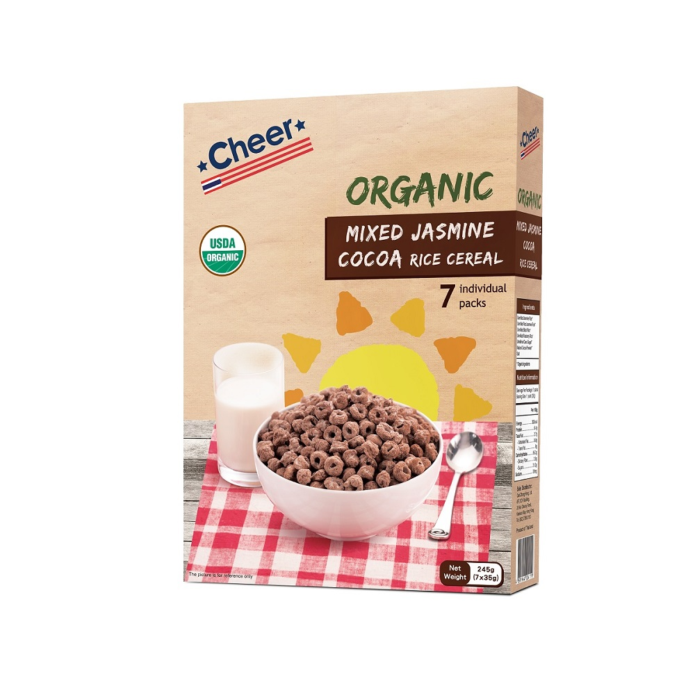 Cheer Organic Mixed Jasmine Cocoa Rice Cereal 245g (7x35g)